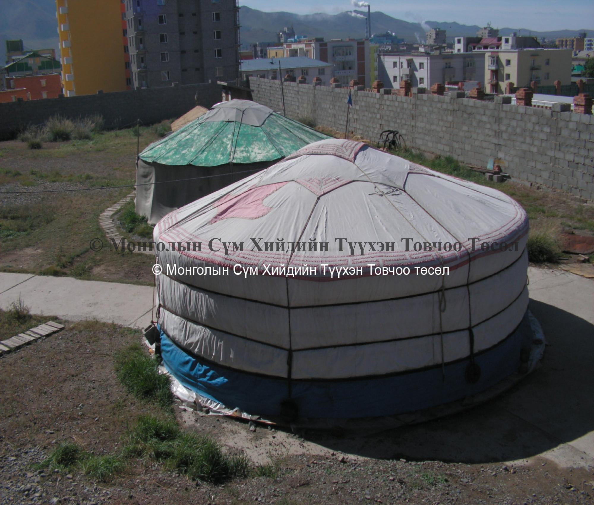 Yurts in front of the temple building