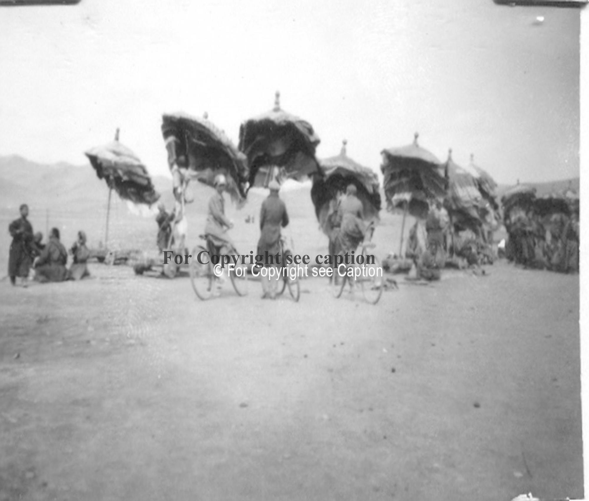 Umbrellas of the 30 aimags at Maitreya procession. Film Archives K-24804. Forbáth, L., A megujhodott