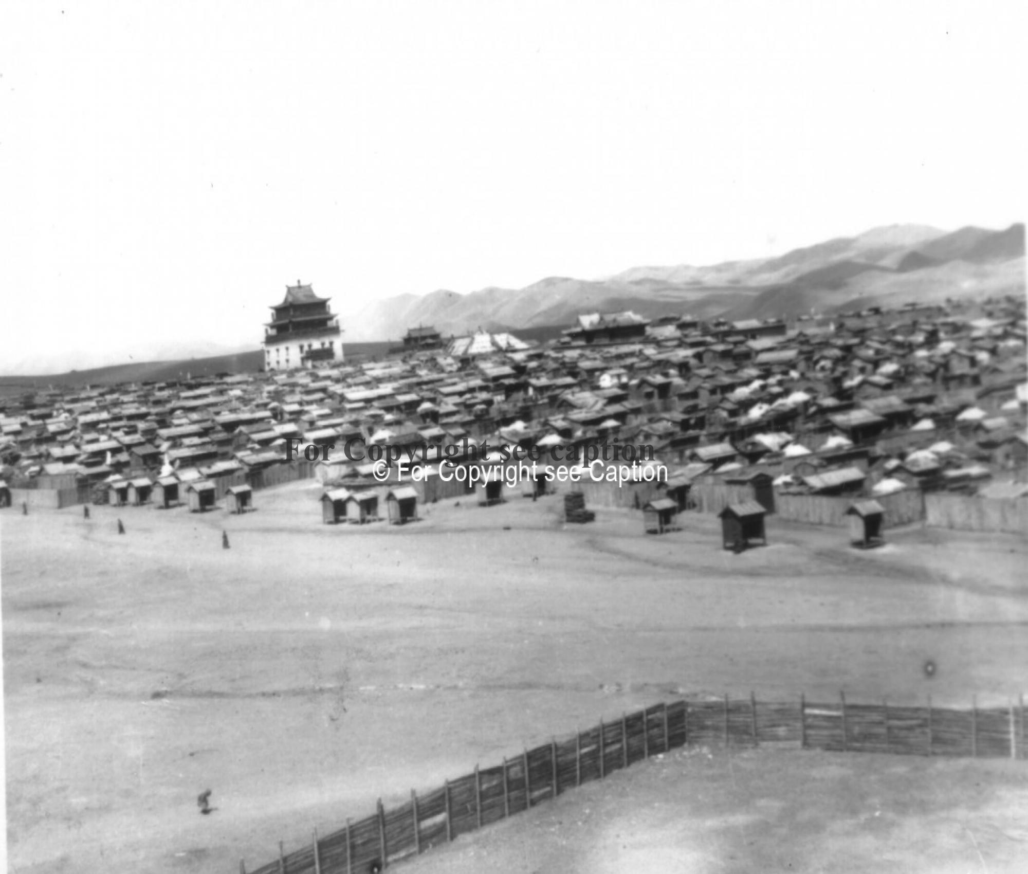 Gandan monastery and its circumambulation road (goroo) from the South-East. Film Archives K-24228